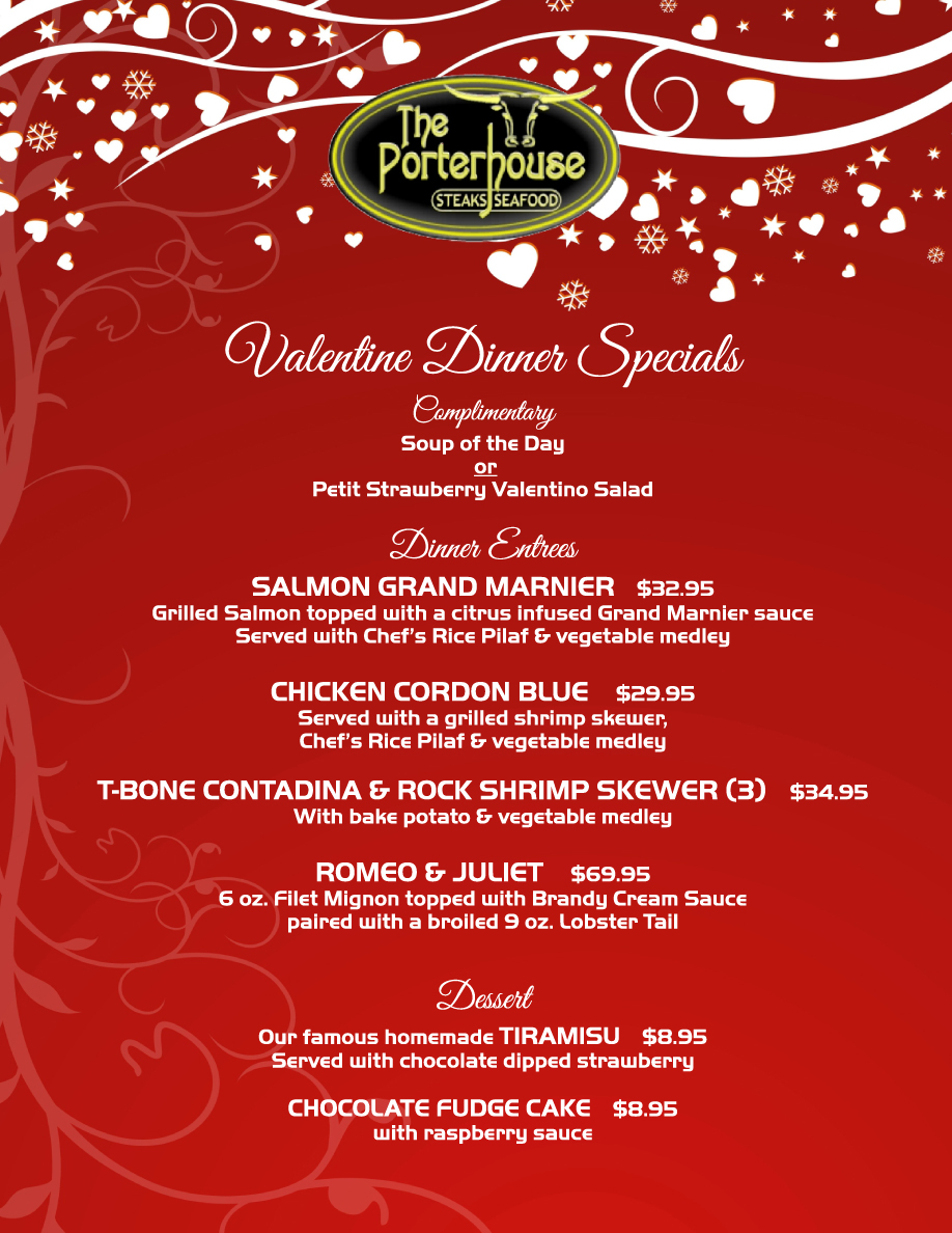 The Portherhouse Hot Springs Valentine's Day Menu